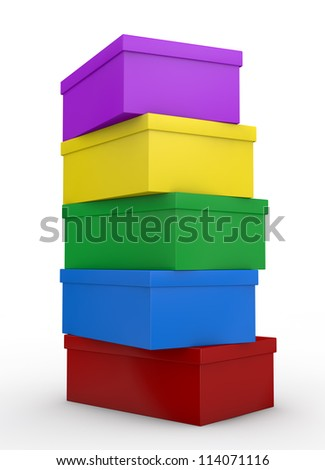 close up view of a pile of coloured shoe boxes (3d render)