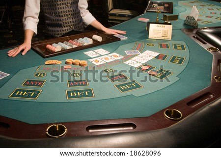close-up view of a poker playing table in casino
