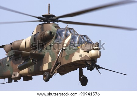 Close up view of a Rooivalk attack helicopter