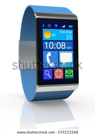 close up view of a smart watch with apps icons (3d render)