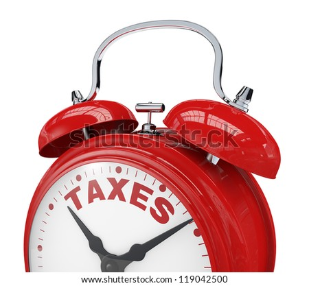 close up view of a vintage alarm clock with the text: taxes instead of the numbers (3d render)
