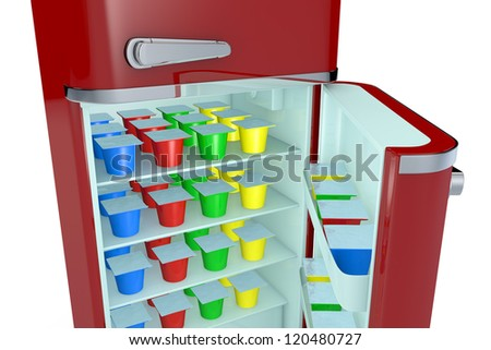 close up view of a vintage fridge full of colored yogurt cups (3d render)