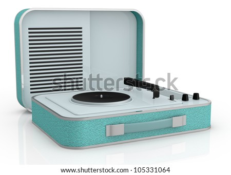 close up view of a vintage record player (3d render)
