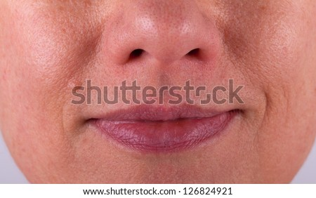 Close-up view of an elderly persons mouth
