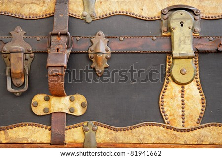 Close-up view of an old vintage suitcase - stock photo