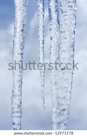 Close up view of backlit icicles
