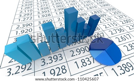 close up view of bar chart, pie chart  and a spreadsheet (3d render)