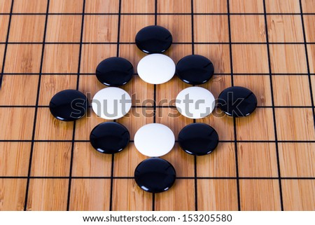 Close up view of black and white pieces on Chinese go game board.