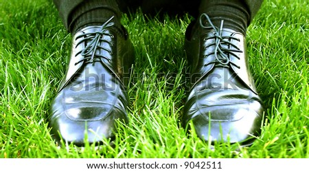 close up view of black business shoes in green grass