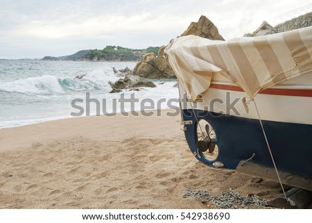Close up view of boat on sand near sea #542938690