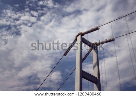 Close up view of Bosphorus bridge with cloudy sky background in Istanbul. #1209480460