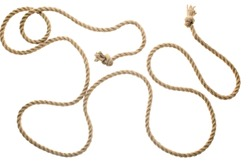 close-up view of brown strong nautical rope with knots isolated on white