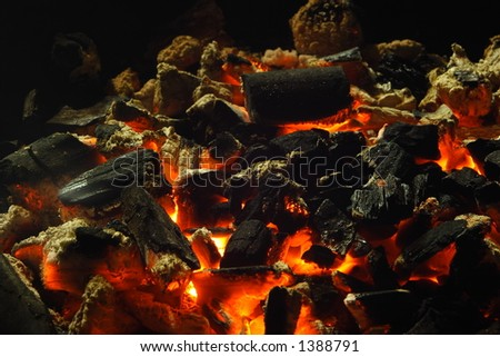 Close up view of burning charcoal.