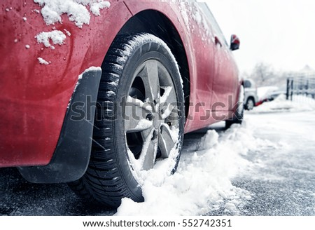 Close up view of car on road in winter day #552742351