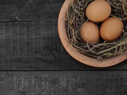 Close-up view of Chicken eggs is on chicken nest wooden background