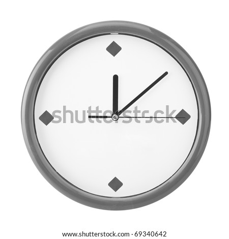 Close-up view of clock face. Isolated on white