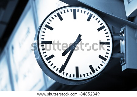 Close up view of clock-face  on color  back.