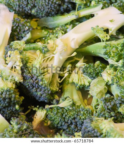 Close up view of cut broccoli florets