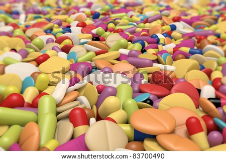 close-up view of different drugs and pills