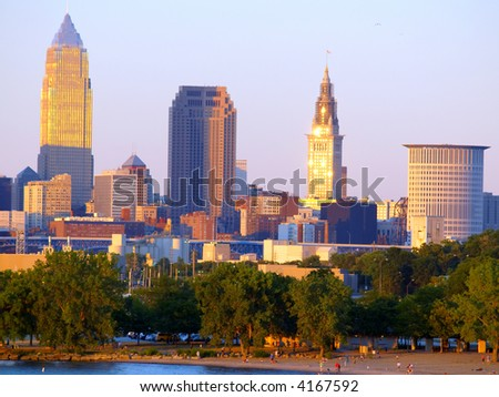Close-up view of downtown Cleveland, Ohio, at sunset