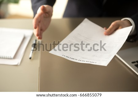 Close up view of employer offering work, businessman extending agreement for signing to successful applicant, hiring new employee concept, assignment, job placement, terms of employment, getting job  #666855079