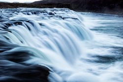 Close-up view of Faxi water fall in Iceland