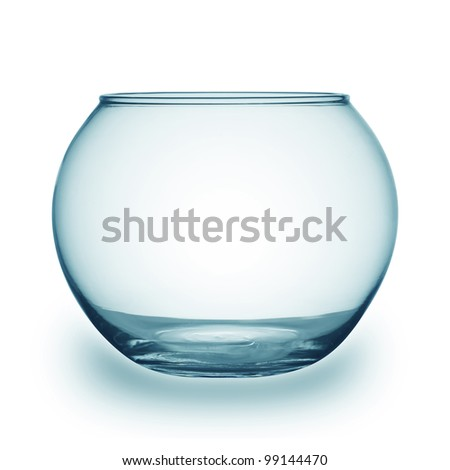 Close up view of fish bowl isolated on white