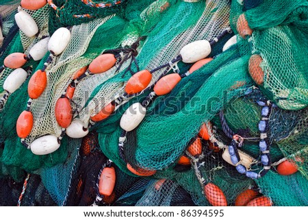 Close up view of fishing net. Marine background.