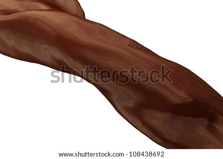 close-up view of flowing liquid chocolate