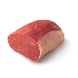 Close-up view of fresh raw Eye of Round Roast Round cut in isolated white background