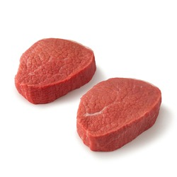Close-up view of fresh raw Eye of Round Steak Round cut in isolated white background