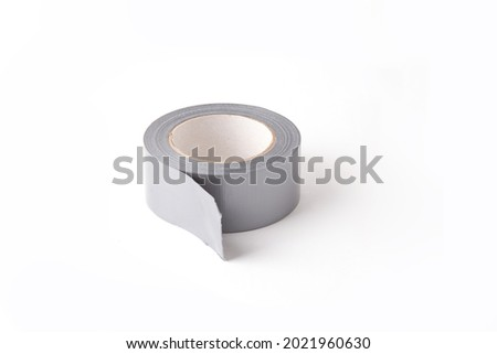 close-up view of gray scotch tape isolated on white background Photo stock ©
