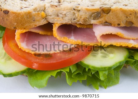 Close up view of ham sandwich