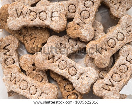 Close-up view of home made dog treats with the word Woof Stock photo ©