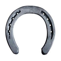 Close-up view of horseshoe isolated on white background