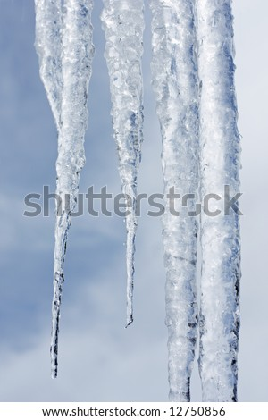 Close up view of icicles