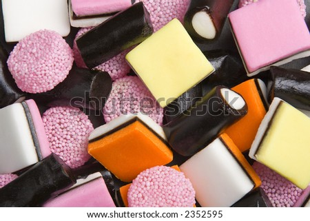 Close up view of liquorice allsorts sweet candies