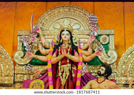 Close up view of Maa Durga's Face during Durga Puja festival. Durga Puja or Durgotsava,is an annual Hindu festival celebrated mainly in West Bengal,India. Photo stock ©