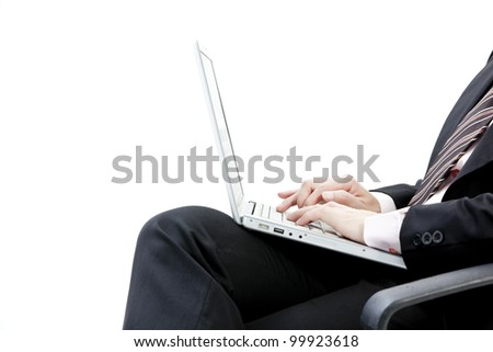close up view of male hand touching computer keyboard