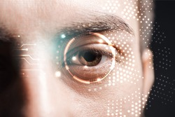 close up view of man eye with data illustration, robotic concept