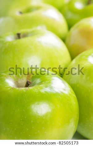 Close up view of many fresh green apples