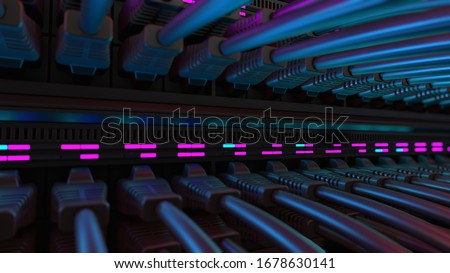 Close-up View of Modern Internet Network Switch With Plugged Ethernet Cables. Blinking Lights on Internet Server. Concept of Data Center, Cloud Computing and Telecommunications.  Stock fotó ©