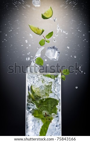 Close up view of mojito cocktail on black background