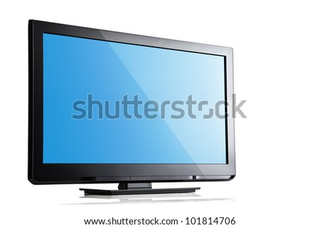 close up view of nice black tv on white back