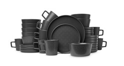 close up view of nice cookware set on white background, kitchenware set. Black cookware set
