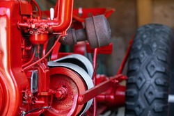 Close-up view of old agricultural farming row crop tractor. Vintage agricultural machinery in the museum, Kootenays, British Columbia, Canada