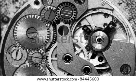 Close up view of old clock's gears