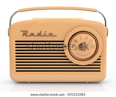 close up view of one beautiful vintage radio (3d render)