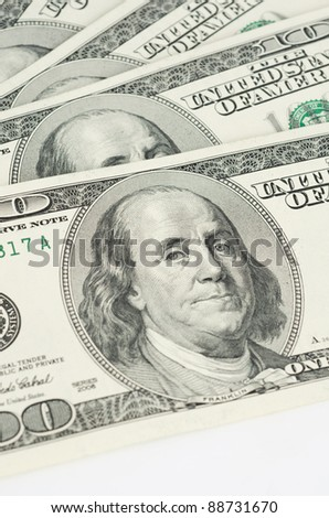 Close up view of pack dollar banknotes - stock photo