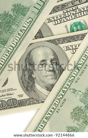 Close up view of pack dollar banknotes